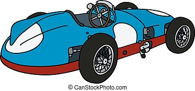 Vintage blue racing car