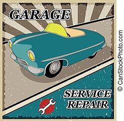 Vintage blue retro car.