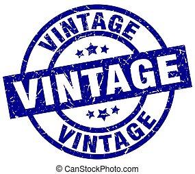 vintage blue round grunge stamp