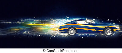 Vintage blue sports car with yellow stripe decals