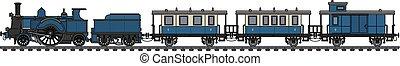 Vintage blue steam train