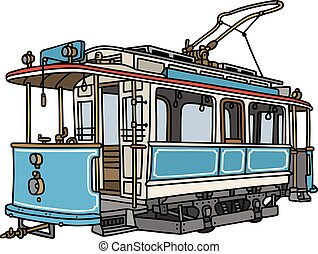 Hand drawing of a vintage blue and white tramway