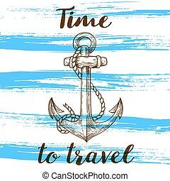Vintage blue travel background