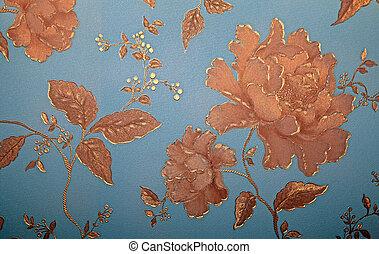 Vintage blue wallpaper with golden floral victorian pattern