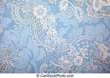 Vintage blue wallpaper with vignette victorian pattern