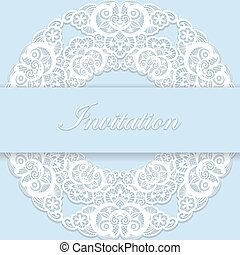 Vintage blue wedding invitation cover with lace decoration