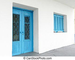 Vintage blue window and door
