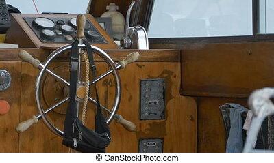 Vintage Boat Steering Wheel - Old ship wooden steering...