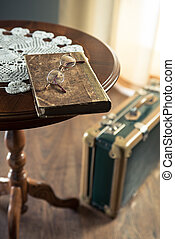 Vintage book and suitcase