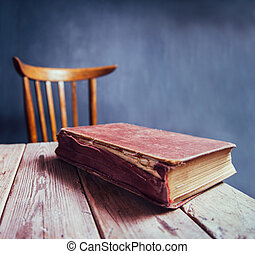 Vintage book on a wooden table