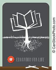 Vintage Book Tree - Education concept tree chalkboard ...