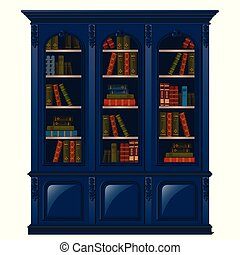 Vintage bookcase blue filled with books. Library furniture isolated on white background. Vector illustration.