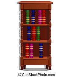 Vintage bookcase filled with books. Library furniture isolated on white background. Vector cartoon illustration close-up.