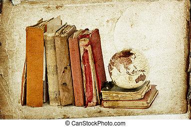 Vintage books and globe