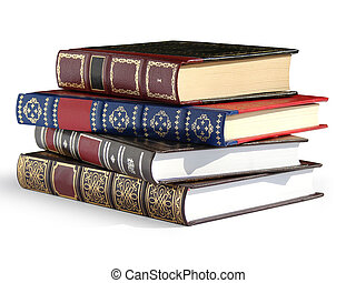 Vintage books - Books isolated on white background with a...