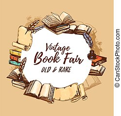Vintage books fair, old rare bookstore