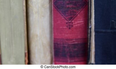 Vintage books. View of row of old books. Low DOF.