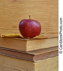 Vintage books with apple