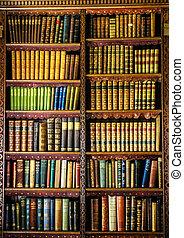 Old vintage bookshelf with historic books
