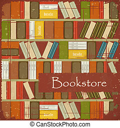Vintage Bookstore Background - Bookcase Vector Background -...