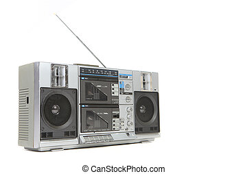 Vintage Boom Box Cassette Tape Player Isolated on White...