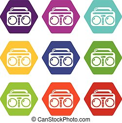 Vintage boombox icons set 9 vector