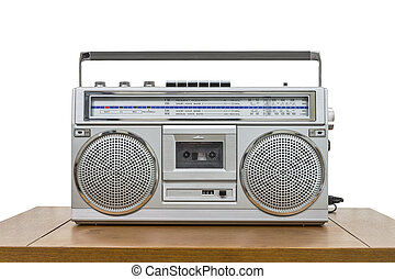 Vintage Boombox on Table Isolated on White