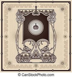 vintage border frame engraving