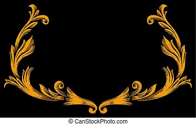 vintage border frame vector illustration (baroque design)