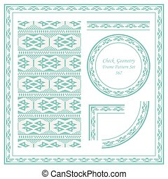 Vintage Border Pattern of Check Square Geometry