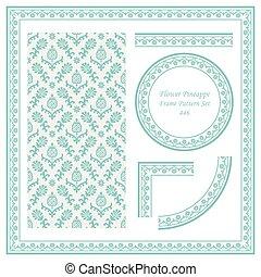 Vintage Border Pattern of Garden Flower Pineappe Leaf
