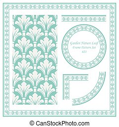 Vintage Border Pattern of Garden Nature Leaf