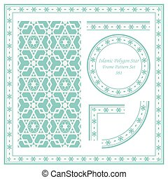 Vintage Border Pattern of Islamic Polygon Star Geometry