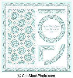 Vintage Border Pattern of Round Dot Flower