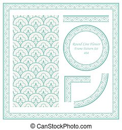 Vintage Border Pattern of Round Line Flower