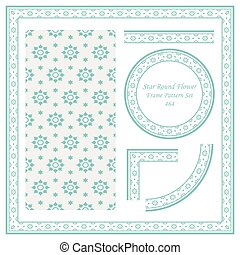 Vintage Border Pattern of Star Round Flower