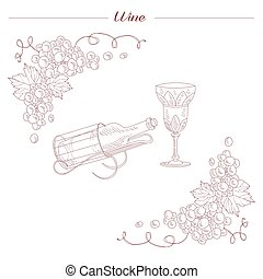 Vintage Bottle And Wine Glass Hand Drawn Realistic Sketch