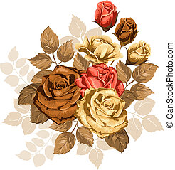 Beautiful illustration with bouquet of roses isolated on white background. Vintage design elements.
