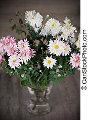 pink asters in glass vase