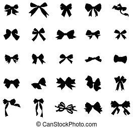 Vintage bows silhouettes set