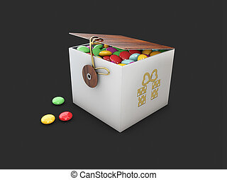 vintage box of caramel, on a black background. Leisure. 3d Illustration