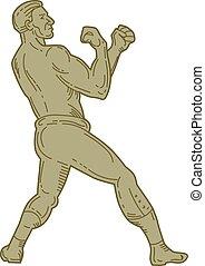 Vintage Boxer Fighting Stance Mono Line