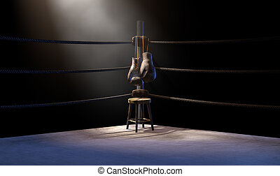 Vintage Boxing Corner And Hung Up Gloves - A closeup of the ...
