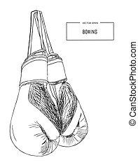 Vintage Boxing Gloves Hanging  sketch vector.