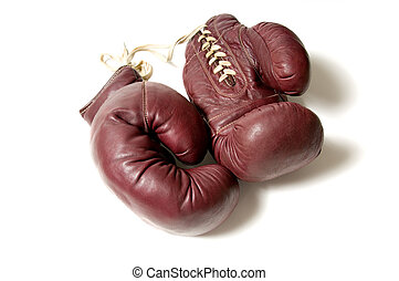 Vintage Boxing Gloves - Vintage boxing gloves on white...