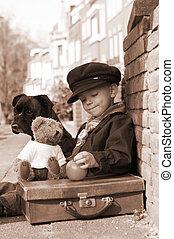 Vintage boy in sepia
