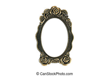 Vintage Brass Frame - Vintage brass frame on white...