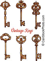 Vintage brass keys vector isolated icons set - Vintage keys...