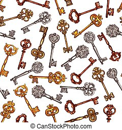 Vintage brass keys vector seamless pattern - Vintage keys...