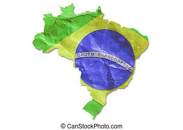 Vintage Brazil flag paper grunge.